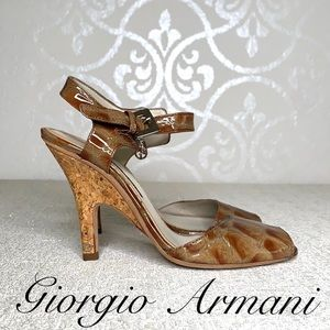 GIORGIO ARMANI PATENT LEATHER CORK HEELS SIZE 7.5